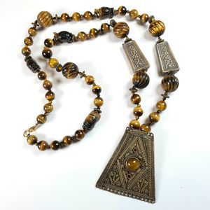 Tiger Eye Bedouin Triangle Necklace Custom Made